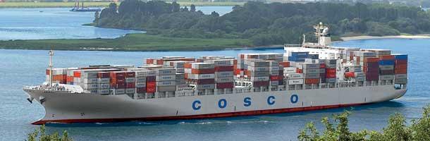 Cosco-skib står på grund på 3. dag