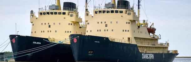 Danske isbrydere på vej mod skrotning