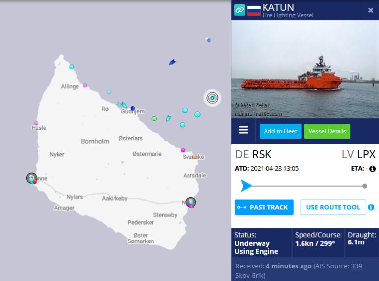 Russiske skibe ligger i ly ved Bornholm