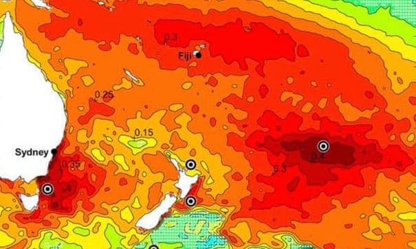 Vast area of warm water off New Zealand causing drought in South America