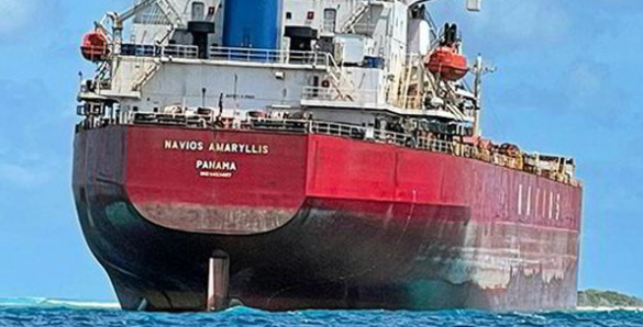 Bulker goes aground in tropical paradise